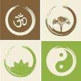 Wektorowi Duchowi logowie Ustawiająca ilustracja z Hinduskim słowem Om Fotografia Stock