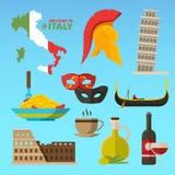 Wektorowi dziejowi symbole Rome Italy Ilustracje w mieszkanie stylu ilustracja wektor