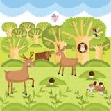 Wektorowi dzikie zwierzęta na lesie ilustracji
