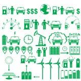 Wektorowi elektrycznych samochodów kija piktogramy ustawiający Ekologii i środowiska infographics postacie i elementy Zdjęcie Stock