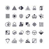 Wektorowi geometryczni kształty i symbole Geometrical loga wektoru set ilustracji
