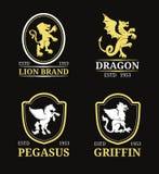 Wektorowi grzebienia monograma szablony Luksusowy Pegasus, smok, lew, gryfa projekt Pełen wdzięku zwierzę sylwetek ilustracje Obraz Stock