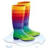 Wektorowi guma buty w tęcza kolorach ilustracji