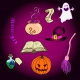 Wektorowi Halloween przedmioty Ustawiający Ilustracji