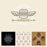 Wektorowi hamburgeru loga projekta elementy i pakunku szablon royalty ilustracja