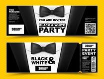 Wektorowi horyzontalni czarny i biały wydarzeń zaproszenia Czarni łęku krawata biznesmenów sztandary Elegancka partyjna bilet kar ilustracja wektor