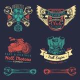 Wektorowi iker klubu logowie ustawiający Motocykl naprawy znaki Retro ręka kreślić garaż etykietki Obyczajowi siekacza sklepu emb ilustracja wektor