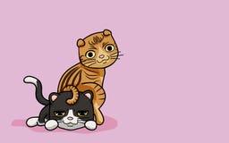 Wektorowi 2 ilustraci śliczny kot w śmiesznym kreskówka stylu Obraz Stock