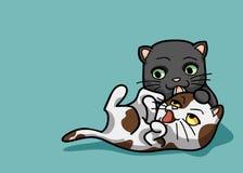 Wektorowi 2 ilustraci śliczny kot w śmiesznym kreskówka stylu Obrazy Royalty Free