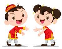Wektorowi ilustracyjni chińczyków dzieciaki Zdjęcie Royalty Free