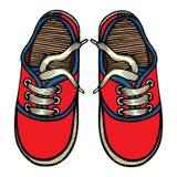 Wektorowi ilustracyjni czerwieni i błękita sportów sneakers Obrazy Royalty Free