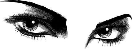 Wektorowi ilustracyjni Piękni kobiet oczy z uzupełniali ilustracja wektor