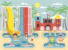 Wektorowi ilustracyjni postać z kreskówki dzieci, chłopiec i dziewczyna pływacki basen blisko wodnego obruszenia, rozigrany lub o Zdjęcia Stock