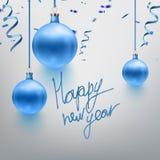 Wektorowi ilustracyjni realistyczni błękitni boże narodzenia bawją się, piłka, confetti, błyskają Pocztówkowy projekt szczęśliwy  Fotografia Stock