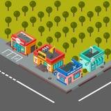 Wektorowi isometric budynki ilustracyjni ilustracja wektor