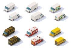 Wektorowi isometric kroków samochody dostawczy ustawiający royalty ilustracja
