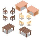 Wektorowi isometric niscy poli- plenerowi, ofice stoły i, meble set royalty ilustracja