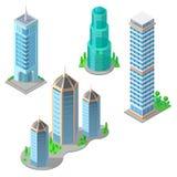 Wektorowi isometric nowożytni budynki i drapacze chmur ilustracja wektor