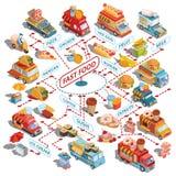 Wektorowi isometric samochody poścą dostawa jedzenie i jedzenie przewozi samochodem, uliczne fast food fury, fast food ikony royalty ilustracja