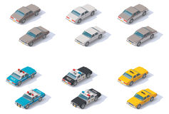 Wektorowi isometric samochody ustawiający Obraz Stock