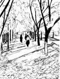 Wektorowi jesieni drzewa z długimi cieniami i ludzie chodzi obok ilustracja wektor