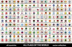Wektorowi kolekcja wszystkie flaga świat w kółkowym projekcie, ustawione w abecadłowym rozkazie, z oryginalnymi kolorami i wysoki ilustracja wektor