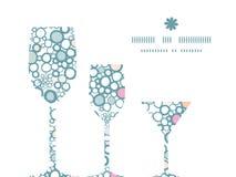 Wektorowi kolorowi bąble trzy wina szkła ilustracji
