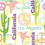 Wektorowi Kolorowi Kalifornia zwierzęta Podróżują Bezszwowego wzór z Los Angeles, San Fransisco, Hummingbirds i pokojem, Obrazy Royalty Free