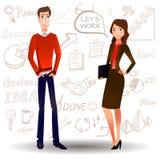 WEKTOROWI kreskówek ludzie biznesu w czerwieni z doodle ustawiają na tle ilustracja wektor