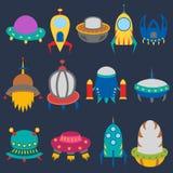 Wektorowi kreskówka obcego statki kosmiczni ilustracji