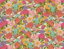 Wektorowi kwieciści wzory z ptakami i kwiatami Obraz Royalty Free