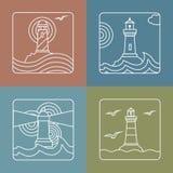 Wektorowi latarnia morska loga projekta szablony liniowi Obrazy Royalty Free
