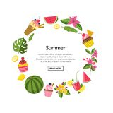 Wektorowi lato koloru koktajle, flaming, palma opuszczają ilustracji