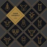 Wektorowi logo mięsny jedzenie, ampuła ustawiająca wektor ikony głowy zwierzęta gospodarskie royalty ilustracja