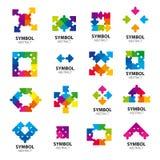 Wektorowi logowie abstrakcjonistyczni moduły Zdjęcie Royalty Free