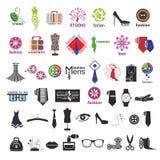 Wektorowi logowie dla odziewać i mody akcesoriów Zdjęcia Royalty Free