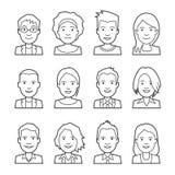 Wektorowi ludzie avatar twarzy Samiec i kobiety kreskowe ikony ilustracja wektor