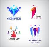 Wektorowi mężczyzna grupowy logo, istota ludzka, rodzina, praca zespołowa, socjalny sieć, lider ikona Społeczność, ludzie podpisu ilustracja wektor