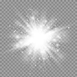 Wektorowi magiczni biali promienie jarzą się lekkiego skutek odizolowywającego na przejrzystym tle royalty ilustracja