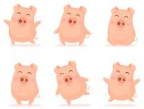 Wektorowi mali kreskówek świni charaktery pozuje w różnych sytuacjach ilustracji