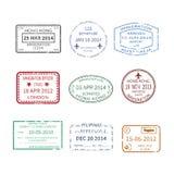 Wektorowi międzynarodowej podróży wizy znaczki ustawiający Obrazy Stock