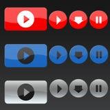 Wektorowi muzyka guziki w trzy kolorach Zdjęcia Stock