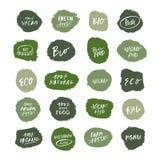 Wektorowi naturalni zieleni organicznie produktów logo, oznaczają i etykietki ustawiać royalty ilustracja