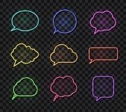 Wektorowi Neonowi rozmowa bąble Ustawiający, Różni kolor mowy pudełka, projektów elementów kolekcja, Odizolowywająca ilustracja wektor