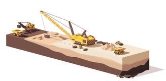 Wektorowi niscy poli- ekskawatory i łup ciężarówka ilustracja wektor