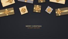 Wektorowi nowożytni boże narodzenia lub 2018 Szczęśliwi nowy rok zimy wakacje zaproszenia karty tło Prezenta pudełka pocztówka ilustracji