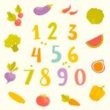 Wektorowi owoc i warzywo liczebniki dla dzieciaków Zdjęcia Royalty Free