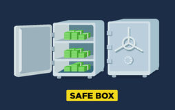 Wektorowi płascy bezpieczni pudełka otwierają i zamykają, blokują z kodu kędziorkiem, pusty skrytki pudełko Isometric widok royalty ilustracja