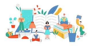 Wektorowi płascy edukacji pojęcia przedmiotów ustawiających ludzie ilustracji