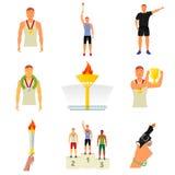 Wektorowi płascy ikon wydarzenia sportowe royalty ilustracja